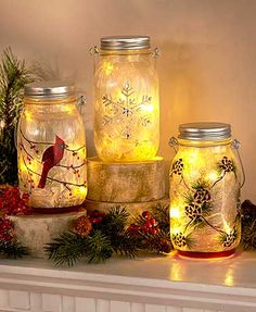 With the perfect seasonal look, this Frosted Glass LED Jar adds a lighted touch to your holiday decor. This jar is the perfect addition to your holiday decor. Five inner LED lights