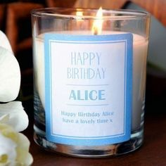 Personalised happy birthday candle #home #furnishing #candle #scented #birthday #thepersonalisedgiftshop £14.99