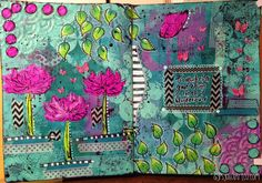 Includes step by step photos to show the process of creating this art journal page by The Gypsy Owl Art Co