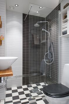 Awesome Small Apartment Interior Designs: Stylish Bathroom Shower Chess Floor Small Apartment Tastefully Designed