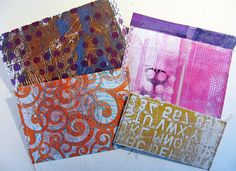 The envies (ENVELOPES) have different prints on the inside, so each will be a special treat for the recipient.  One good thing about using stuff up is that creates room for more new work. constance rose : mixed media and textiles: Gelli Envies