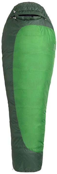 Marmot Trestles 30 Long Synthetic Sleeping Bag, Long-Right, Green. EN Tested. SpiraFil High Loft Insulation. Dual Zippers. Wave Construction. 3D Hood Construction.