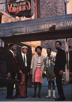 John Coltrane, Alice Coltrane, Pharoah Sanders, Jimmy Garrison and Rashied Ali at the Village Vanguard - 1966.