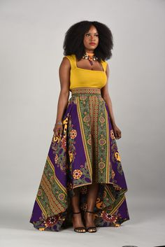 Marble-African Print High- Low Skirt More