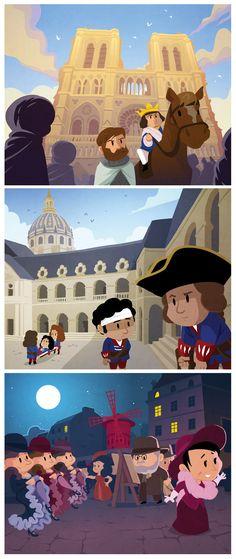 """Illustrations extraites du livre pour enfants """"Histoire de Paris"""" - Quelle Histoire Editions"""