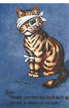 Louis Wain 'A Famous Victory' World War I 1916 Propaganda One of a long series Louis Wain pictures reproduced by Crystal Cards of London