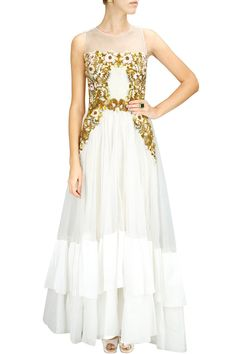 TONE 'n' TEXTURE - Off white cotton chanderi and glass tissue floral embroidered gown by Samant Chauhan. Shop now at www.perniaspopups... #indian #designer #fashion #couture #shopnow #perniaspopupshop #happyshopping