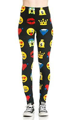 Beaute Fashion Wiki Emoji Social Media Print Womens Juniors Leggings in Black  One Size One Size *** You can get more details by clicking on the image.