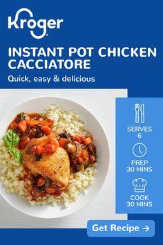 Instant Pot Pressure Cooker, Pressure Cooker Recipes, Instant Pot Chicken Cacciatore Recipe, Cooking Recipes, Keto Recipes, Potluck Recipes, Cooking Gadgets, Fudge Recipes, Chili Recipes