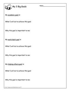 My 3 Goals worksheet (bee theme) (Goal Setting)