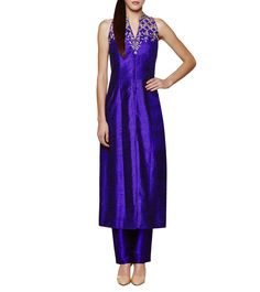 Anita Dongre Ink Blue Gota Patti Raw Silk Jacket Set ₹ 33,000