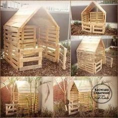 Simple, elegant and rustic handmade pallet cubby houses These simple pallet cubby houses can be made to your exact specifications from what size and colours . Pallet Tree Houses, Pallet House, Kids Outdoor Play, Backyard For Kids, Cubbies, Pallet Kids, Pallet Playhouse, Pallet Fort, Cubby Houses