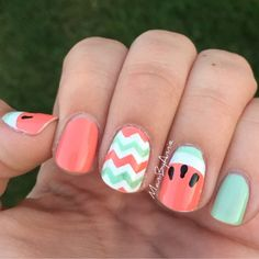Mani by Annie: Watermelon Accent Nails