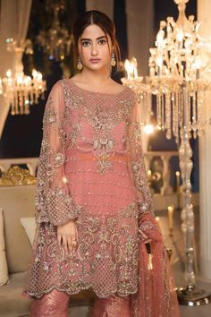 MARIA B Luxury Embroidered Chiffon Collection Replica Fabric: Chiffon Embroidered Chiffon Shirt Front (Hand-work) Embroidered Chiffon Shirt Back Embroidered Daman Embroidered Chiffon Sleeves (Cut-work) Embroidered Net Dupatta Jamawar Trousers Included Shadi Dresses, Pakistani Formal Dresses, Pakistani Party Wear, Pakistani Wedding Outfits, Pakistani Dress Design, Pakistani Couture, Elegant Party Dresses, Formal Dresses For Weddings, Party Wear Dresses