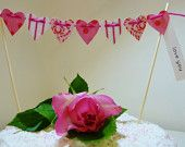 Tilda heart cake bunting made with beautiful pink patterned cardstock hearts Choose you own greeting Perfect for weddings