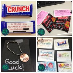 Whether it's good luck cards or fun good luck gift ideas, we have OVER 100 of the cutest and most creative ideas to wish someone good luck! Good Luck Cards, Good Luck Gifts, Cheer Gifts, Team Gifts, Volleyball Locker Decorations, Good Luck Quotes, Candy Quotes, Lucky Penny, Team Mom