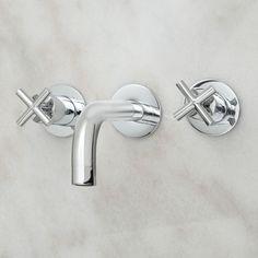 Exira Wall-Mount Bathroom Faucet - Cross Handles - No Overflow - Chrome