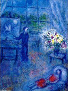 Acheter Tableau 'artiste et la sienne modèle' de Marc Chagall - Achat d'une reproduction sur toile peinte à la main , Reproduction peinture, copie de tableau, reproduction d'oeuvres d'art sur toile