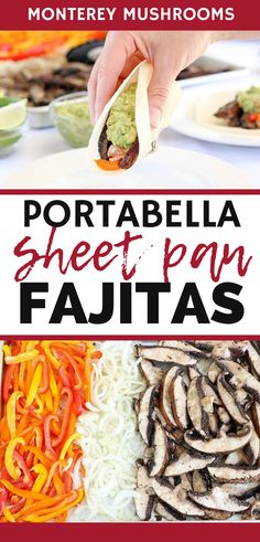 These portabella fajitas are such a tasty healthy sheet pan dinner. With just a few simple ingredients, these vegetarian fajitas are easy to make. Vegetarian Mushroom Recipes, Vegetarian Fajitas, Best Mushroom Recipe, Easy Delicious Recipes, Healthy Dinner Recipes, Tasty, Mushroom Side Dishes, Mushroom Tacos