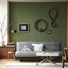 Green Painted Brick Wall - Love Grey & Green Color Scheme