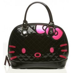 Hello Kitty Quilted Embossed Face Bag in Black