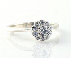 14K White Sapphire Diamond Halo Engagement Ring 14K by RareEarth, $784.00