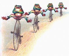 Frogs on Bikes Cotton Fabric Block - Repro from Vintage Image. $9.99, via Etsy.