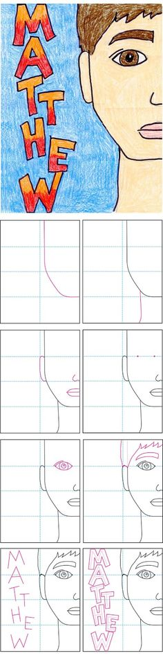 Half Face Self Portrait with Name How to draw instructions. Teach proportions. They can fold their paper to make the lines before drawing.
