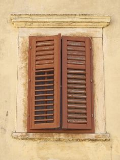 Old-World Charm - Imagine a rustic village in old-World Spain, where a window overlooks the busy square. Be transported there with the look of these charming #vintage_shutters. Distressed wooden frames lend to the wonderful charm of these double fold-out #shutters, complete with narrow-inch horizontal slats.
