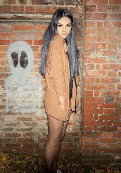 long black hair. cute sweater too