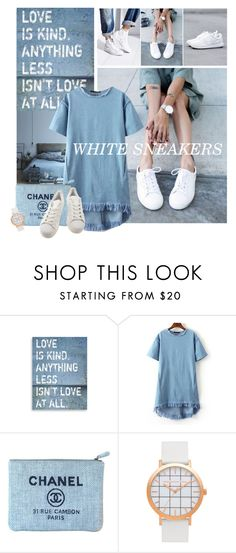 """""""Bright White Sneakers"""" by lacas ❤ liked on Polyvore featuring WithChic, Chanel, adidas and whitesneakers"""