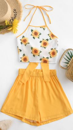 This two-piece set has the halter top accented with the sunflower print and the high-waisted shorts with the solid-color design. Ich combines to cre Cute Lazy Outfits, Summer Outfits For Teens, Teenage Girl Outfits, Teenager Outfits, Crop Top Outfits, Pretty Outfits, Stylish Outfits, Two Piece Outfits Shorts, Girls Fashion Clothes