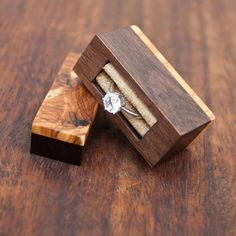 Ring box made from black walnut and olivewood burl. Hidden magnets on the one part of the box. Unique item, soon available in store! . . .… #burlwoodideasunique