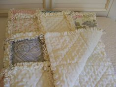 Moonlight Garden Baby Rag Quilt Minky Cream Made To Order Pink Gray Blue Roses Shabby Chic Style  Baby Shower Gifts