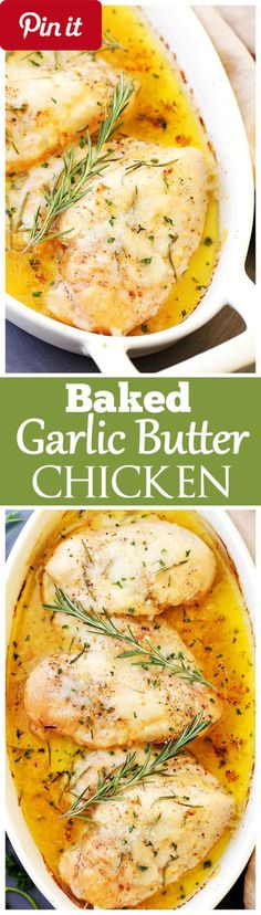 Baked Garlic Butter Chicken - Baked Garlic Butter Chicken - Super quick easy and SO delicious Garlic Butter Chicken with fresh rosemary and cheese. Perfect for Ingredients Gluten free Meat 4 (16-ounces) boneless skinless chicken breasts boneless skinless Produce 6 cloves Garlic 1 tbsp Rosemary fresh leaves Baking & Spices 1 Salt and fresh ground pepper Dairy 1 stick Butter cup Reduced fat 4-cheese italian #delicious #diy #Easy #food #love #recipe #recipes #tutorial #yummy @mabarto - Make…