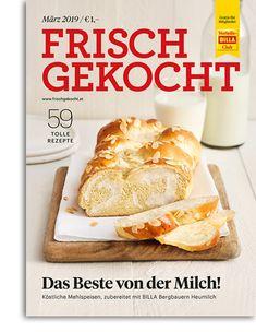 Frisch gekocht Magazin Ausgabe März 2019 Billa, Camembert Cheese, Vegan, Food, Cooking, Food Food, Essen, Meals, Vegans