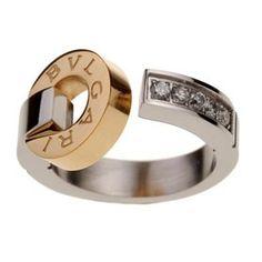 Ring Bvlgari Futuristic Design Bvlgari Inscribed Crystal Studded Silver Gold 4620