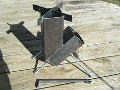 Wood Burning Rocket Stove Self Feeding Design all welded steel construction