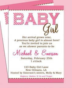 Baby Shower: Baby Shower Girl Invitation Wording To Help Your Surprising Baby…