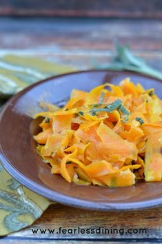 Butternut squash and leek ribbons sauted with brown butter and sage makes a delicious side dish that can accompany any meal. Gluten free.