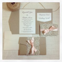 Wedding invitation Rustic Lace Peach by StunningStationery on Etsy