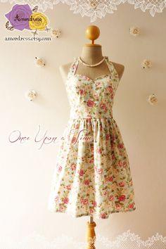 Vintage Inspired Dress Floral Dress Romantic Blue by Amordress