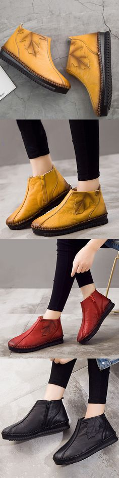 US$39.40 Large Size Leaf Soft Genuine Leather Vintage Boots