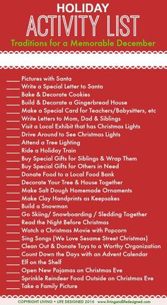 Holiday Activities List for the Month of December Leading up to Christmas