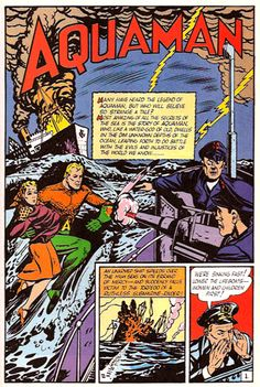 Aquaman's first appearance in More Fun Comics #73 from 1941, by Paul Norris