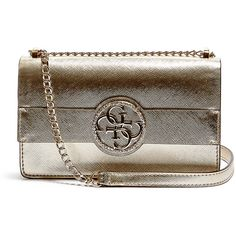 GUESS Midnight Metallic Convertible Cross-Body ($88) ❤ liked on Polyvore featuring bags, handbags, shoulder bags, gold, wristlet crossbody, crossbody shoulder bags, brown handbags, brown crossbody purse and guess handbags