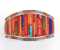 Raymond C. Yazzie cuff, 2005. His jewelry is a remarkable display of lapidary design.  Part of an exhibition of Yazzie Family jewelry in NYC at the NMAI (at the US Custom House) starting 11-13-14.