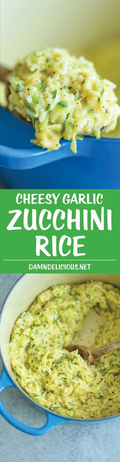 Cheesy Garlic Zucchini Rice - Made in ONE POT! So easy. So cheesy. So garlicky. A side dish for all of your meals! Can be made with brown rice or quinoa.