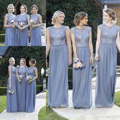 Elegant Lace Bridesmaid Dresses 2016 Cheap A Line Jewel Chiffon Floor Length Bridesmaids Maid Of Honors Dresses For Weddings Dresses For Wedding Guest Grey Bridesmaid Dresses From Angelia0223, $141.7  Dhgate.Com