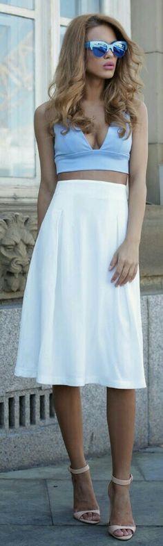 InTheStyle Bralet & White Midi Skirt / Fashion by Nada Adelle